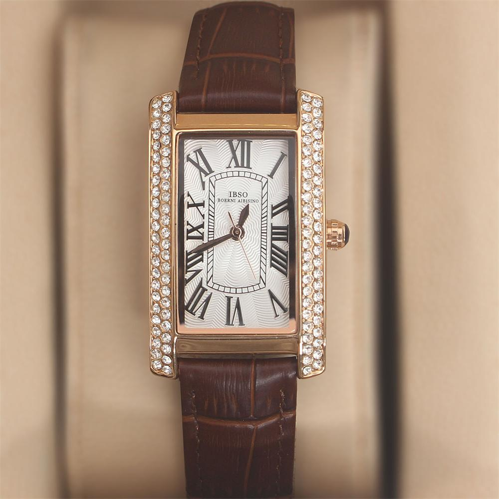 Crystal Rose Coffee Leather Ladies Watch
