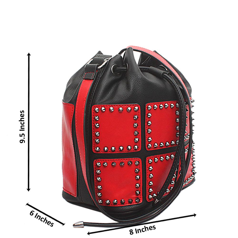 London Style Black Red Leather Bucket Bag