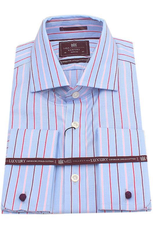 M&S Luxury Blue Red Stripe Slim Fit Men Shirt