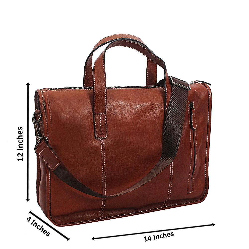 Light Brown Bangkok Top Grain Leather Briefcase