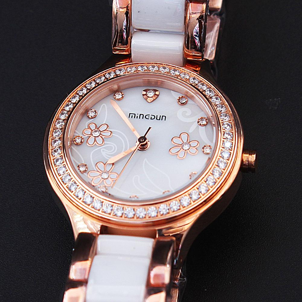 Empire Gold-Tone Flower Studded Ceramic Ladies Watch
