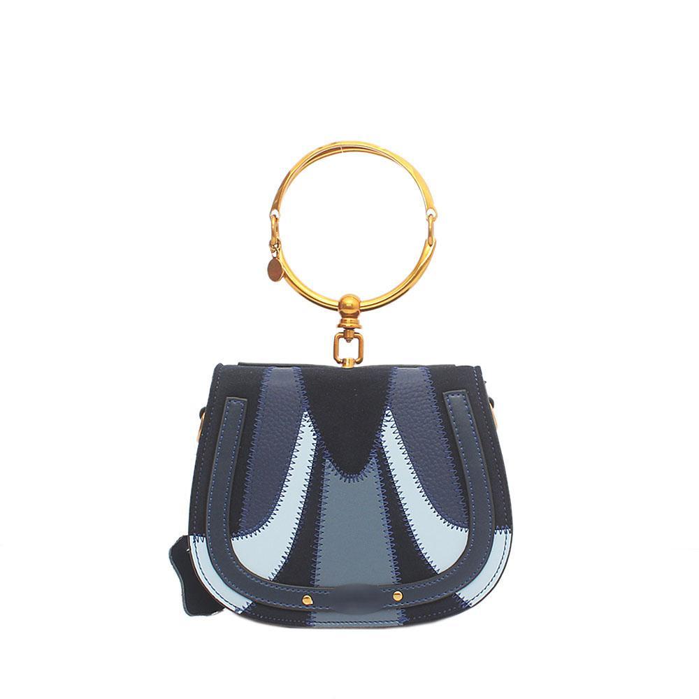 Navy Blue Saffiano Leather Small Mini Nile Bracelet Bag