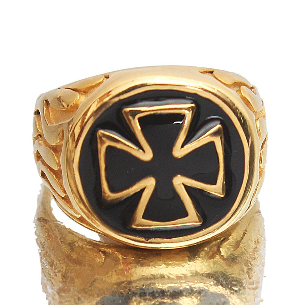 Gold Black Bishop Steel Ring