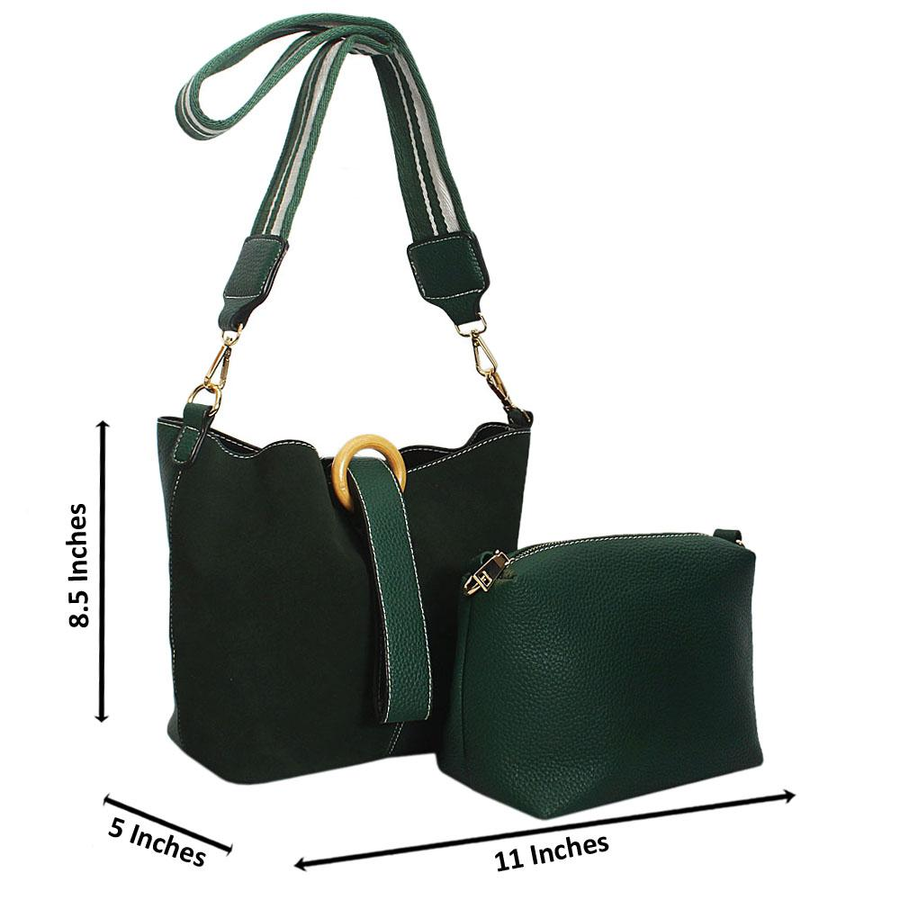 Green Suede Leather Small Bucket Handbag