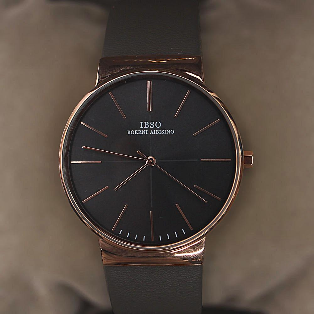 Oxford Gray Leather Flat Watch