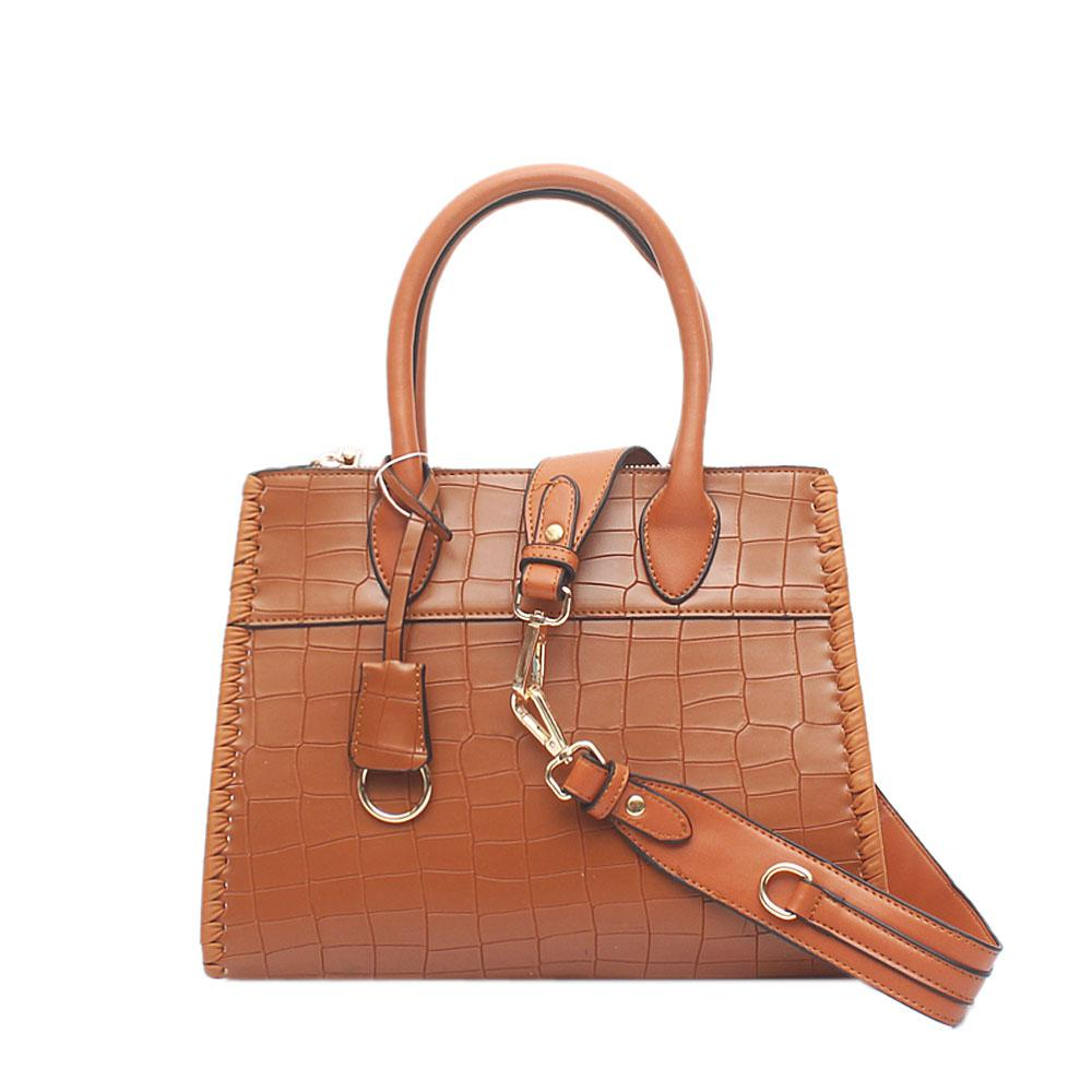 Cartel Syringa Brown Croc Leather Tote Bag