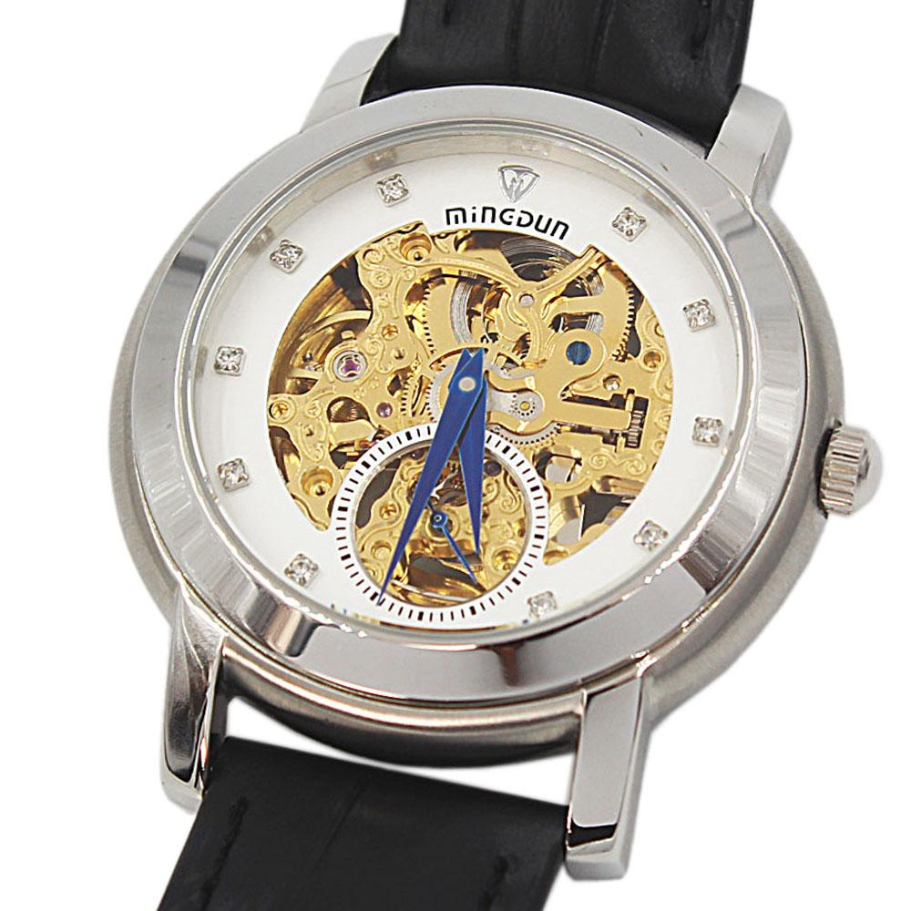 Shanghai Marcello White Face Black Leather Automatic Skeletal Watch
