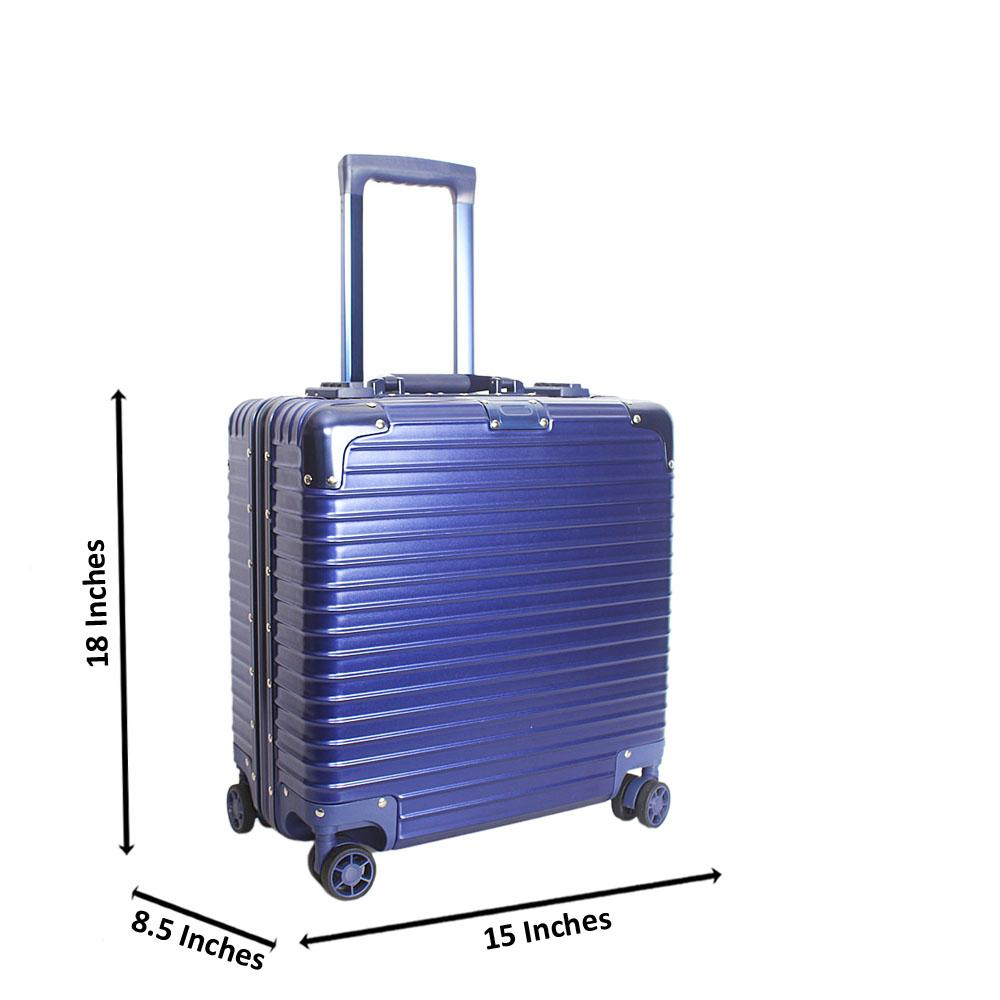 Blue 18 Inch Hard Shell 4 Wheels Spinners Pilot Suitcase