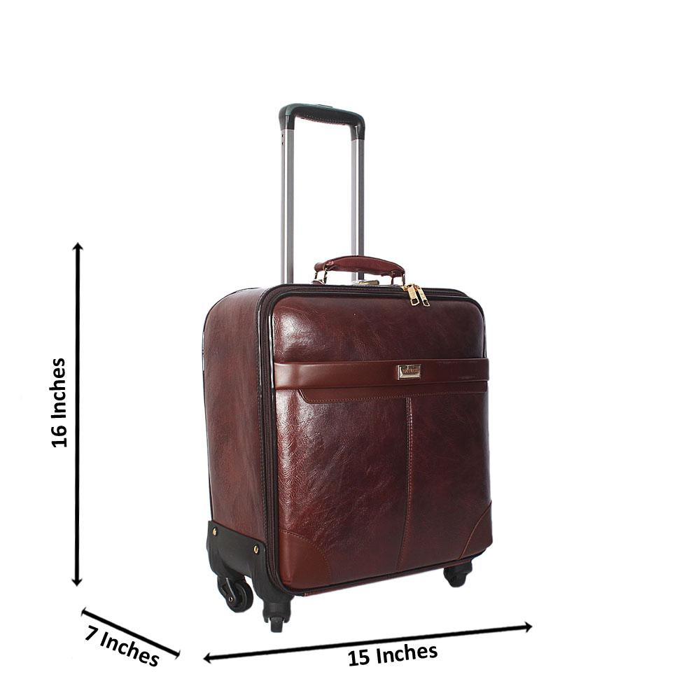 Coffee 16 Inch Leather Pilot Suitcase Wt Lock