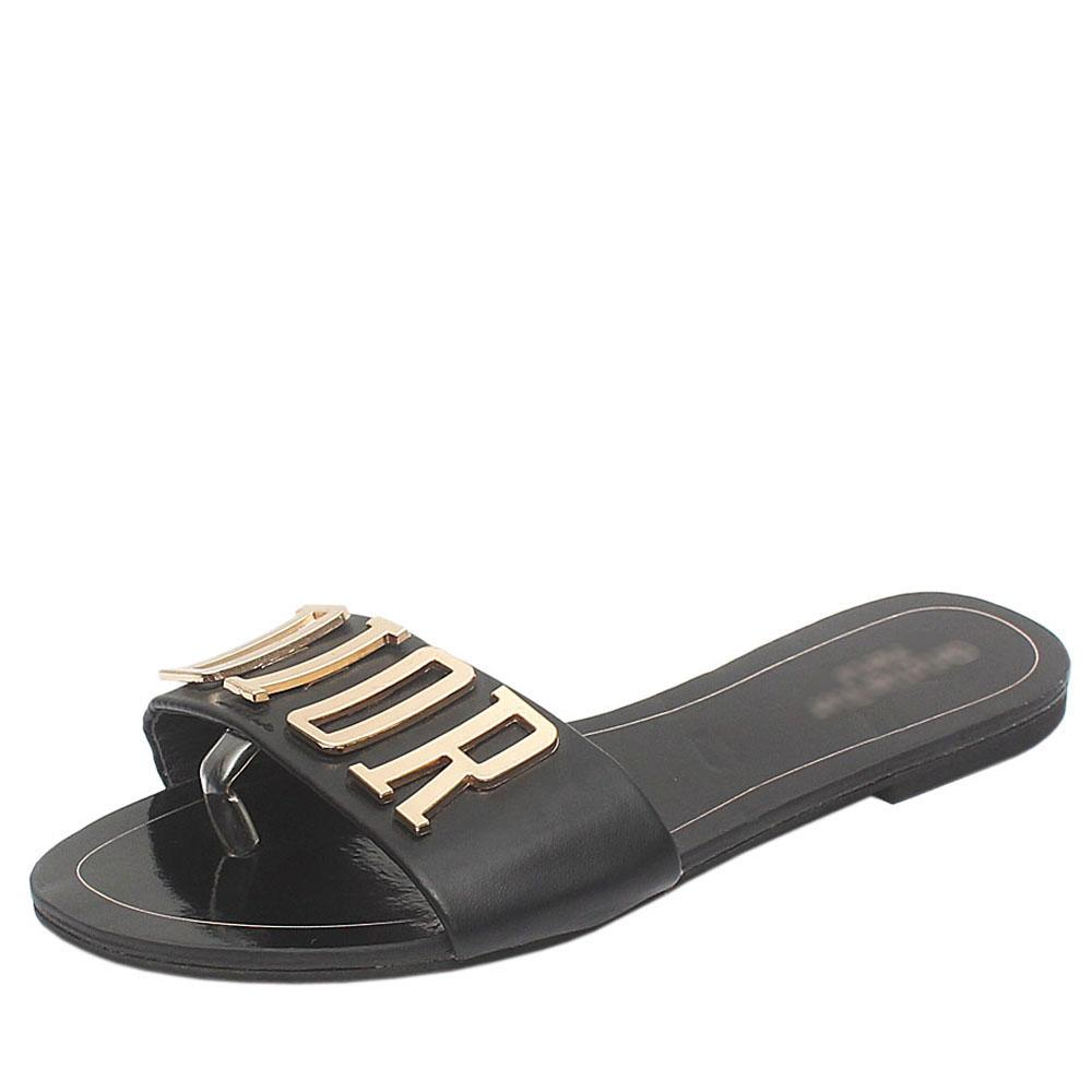 Black Leather Flat Slippers