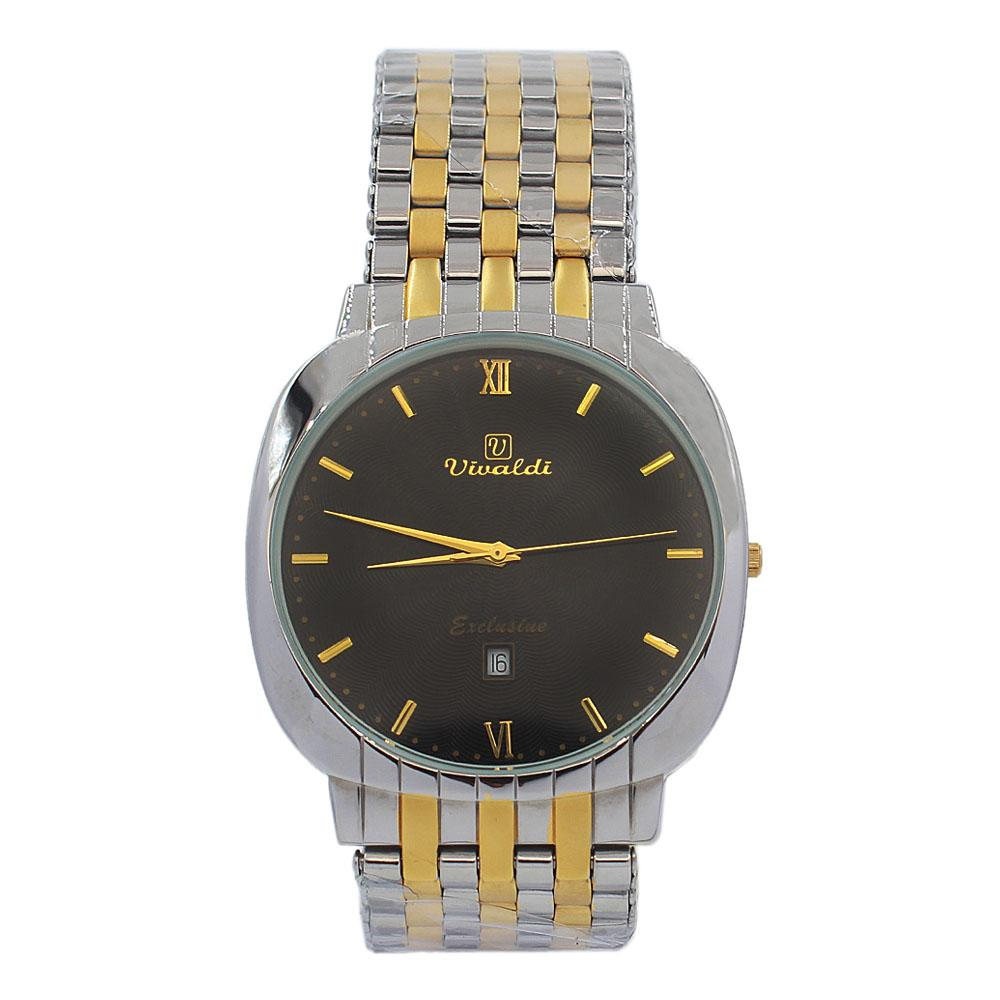 Silver-Gold-Troy-Black-Face-Stainless-Steel-Fashion-Watch