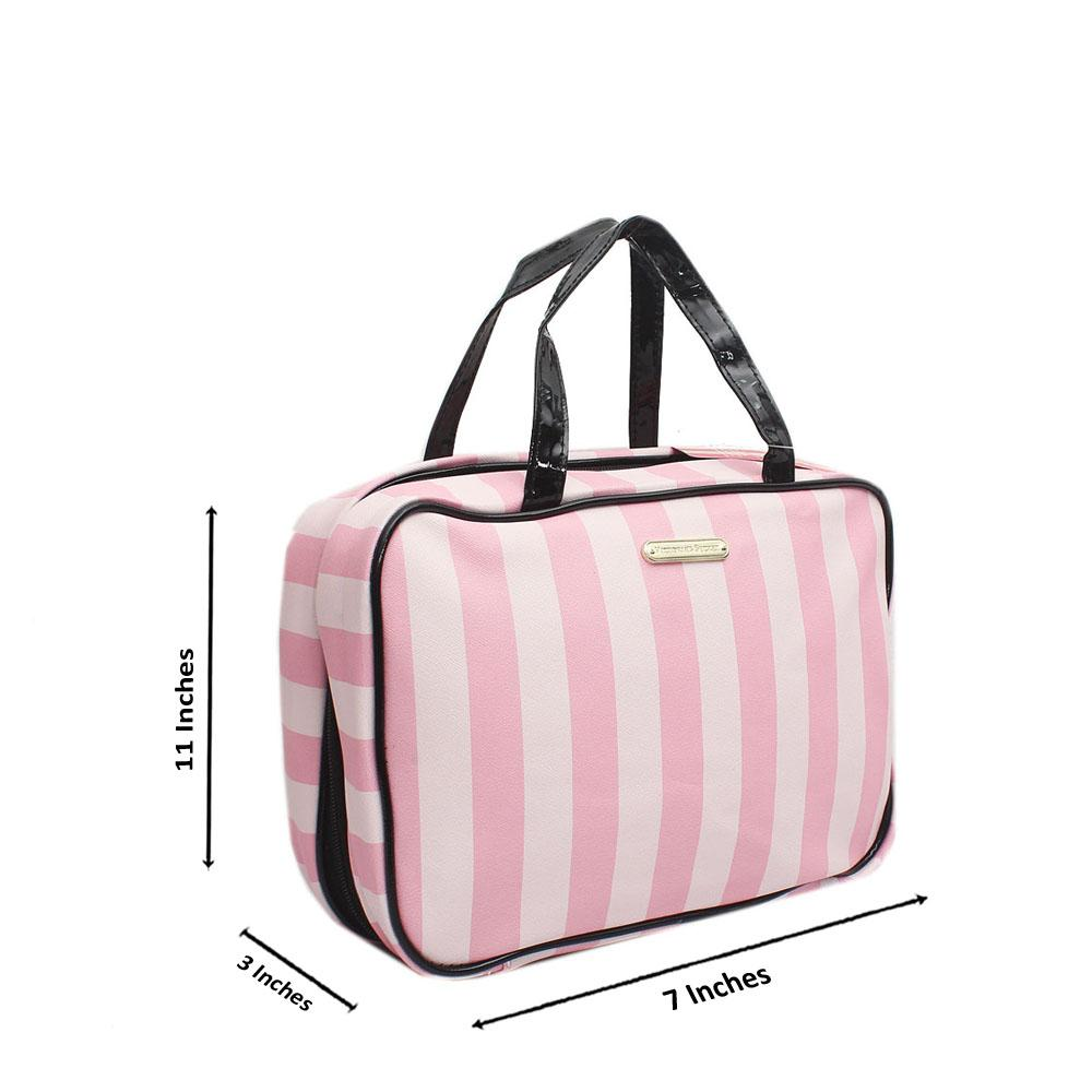 VS Pink Stripe Fabric Leather Toilet Bag