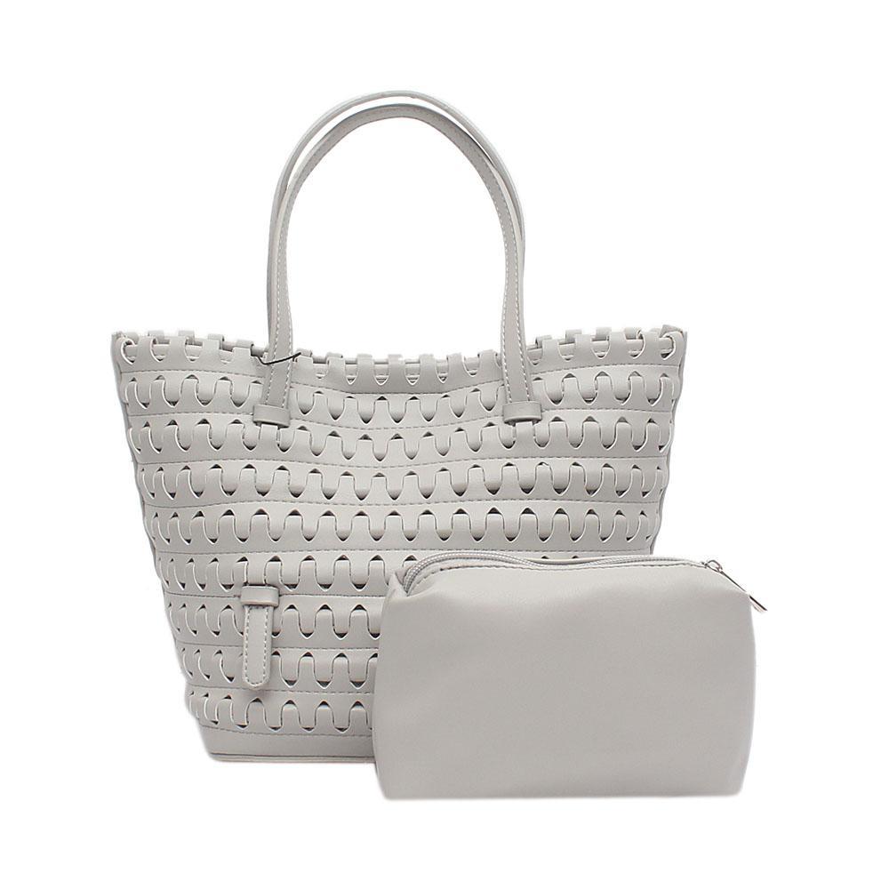 London  Style Grey Leather Small Handbag Wt Purse