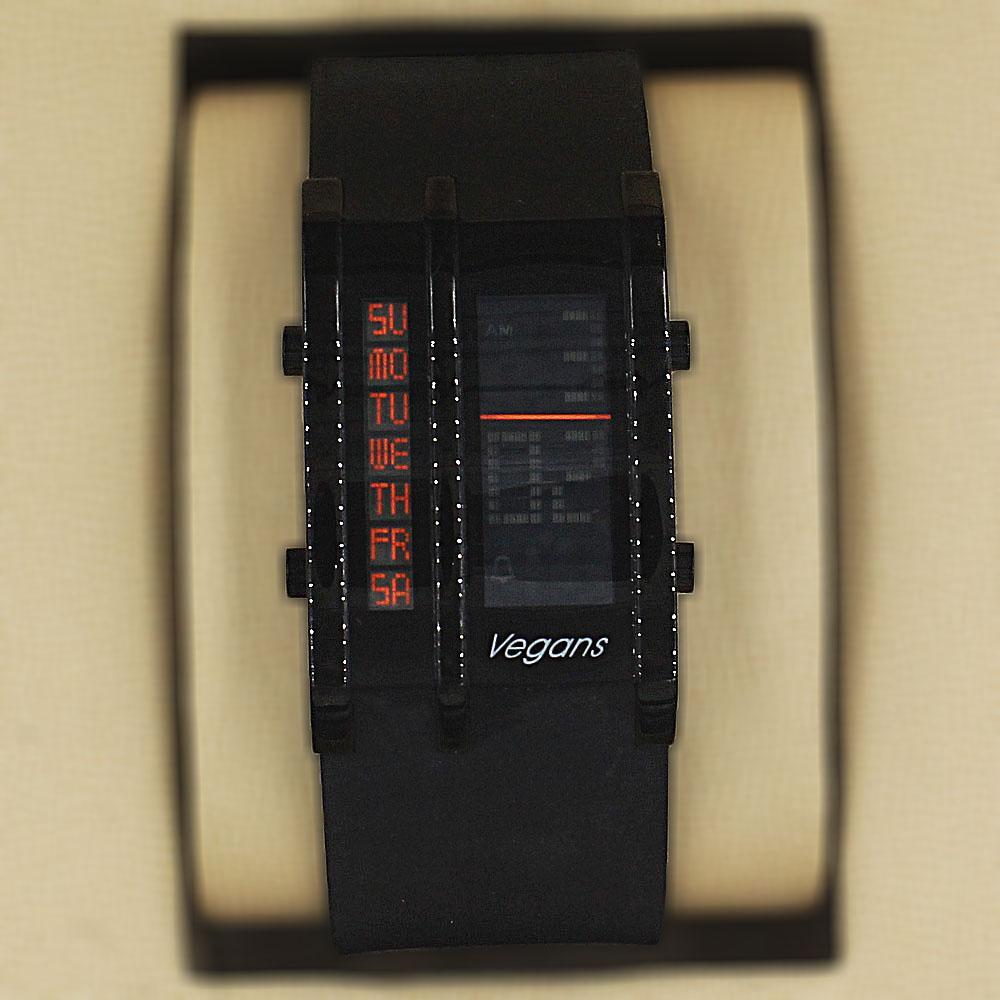 Vegans Black Rubber Water Resistant 5 ATM Digital Watch