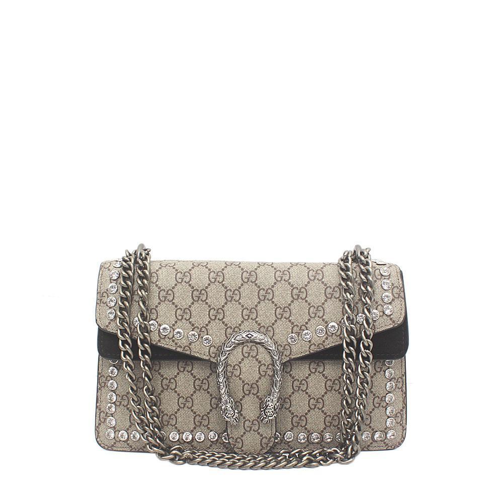 Black Brown Suede Saffiano Leather Crystals Dionysus Bag
