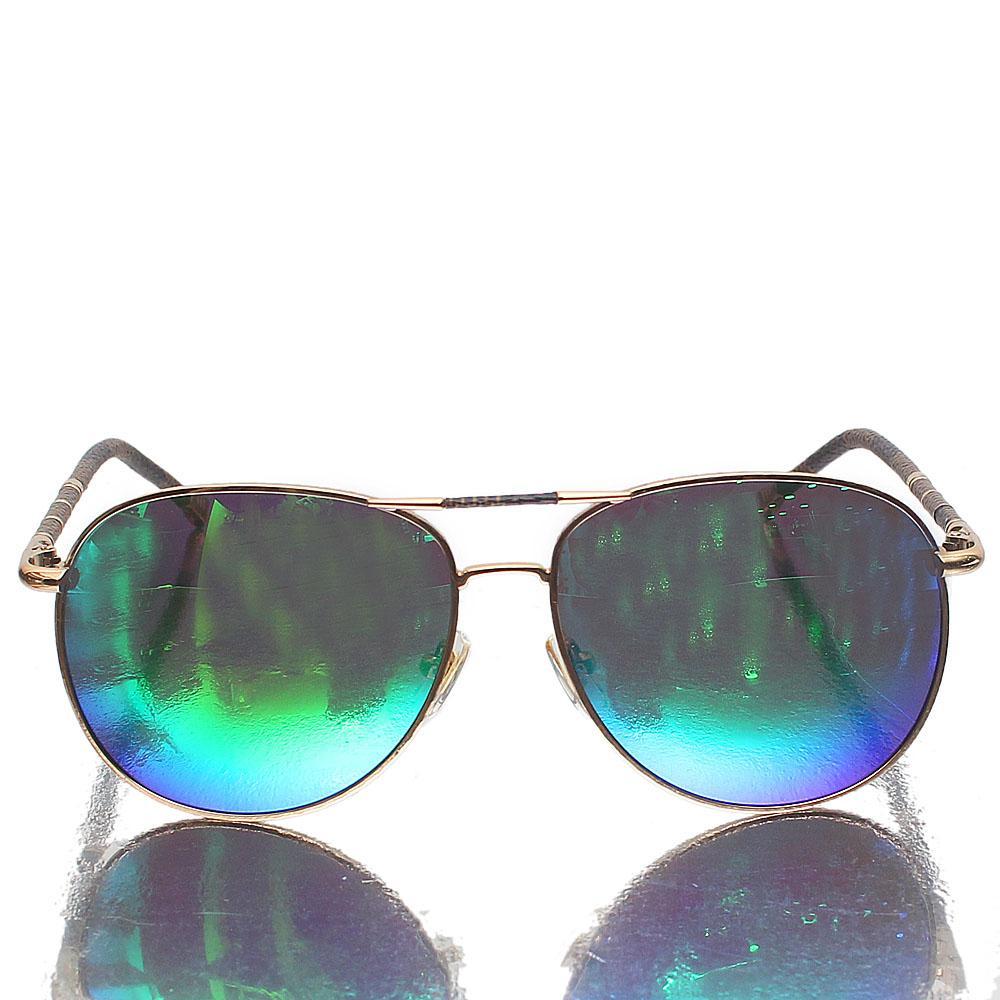Gold Brown Aviator Green Polarized Lens Sunglasses