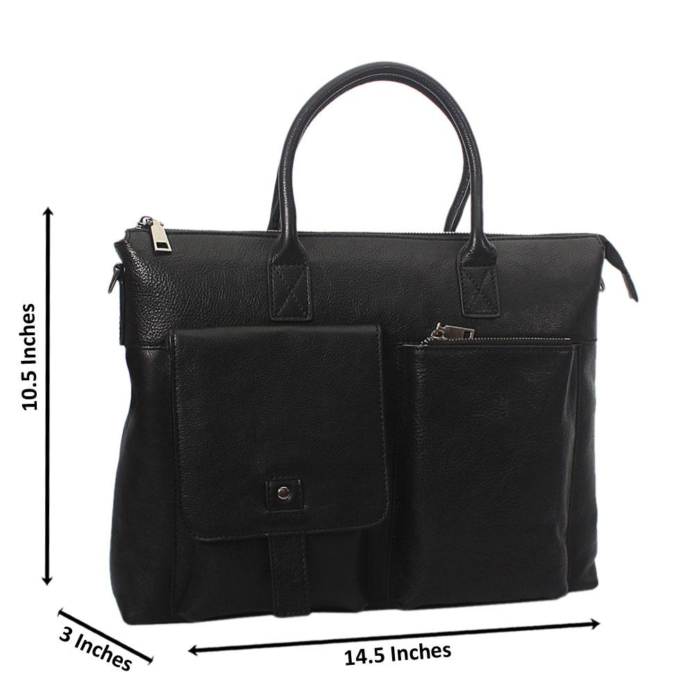 Black Double Pocket Classic Leather Briefcase