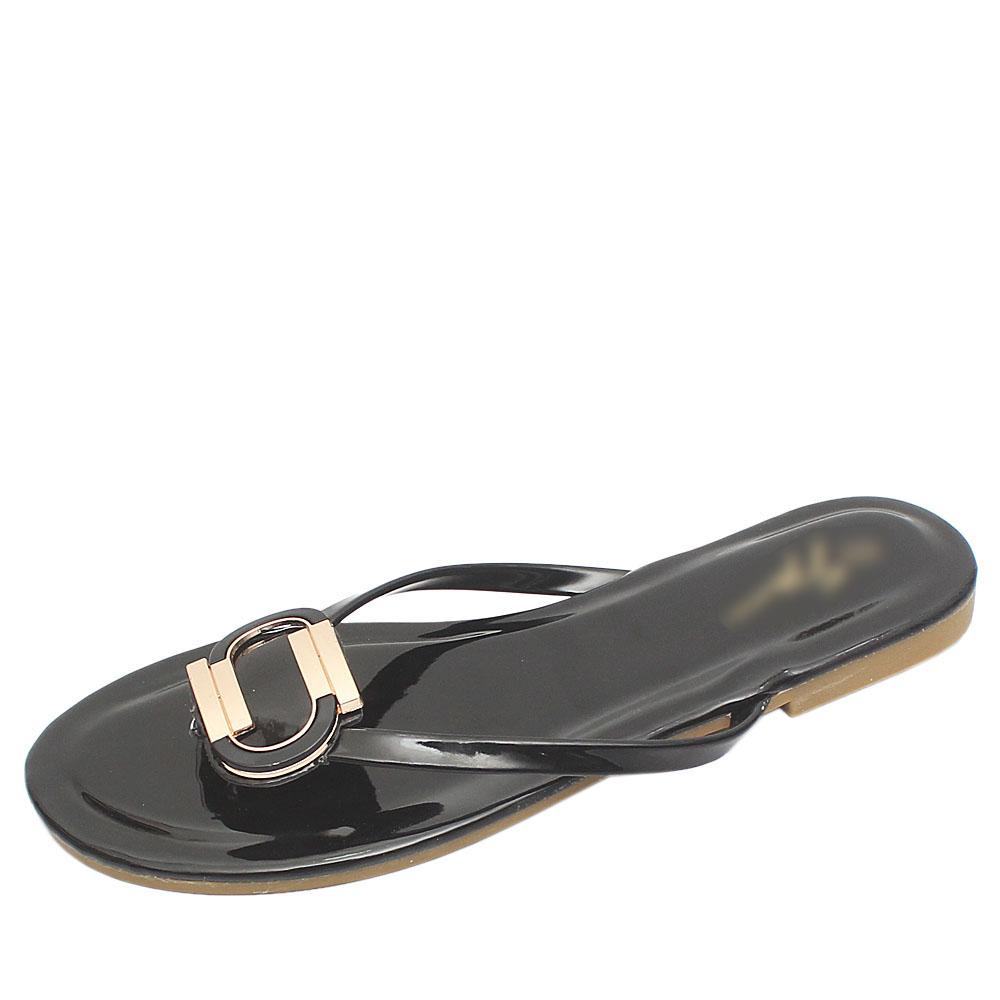 Gius Black Patent Leather Flat Slippers