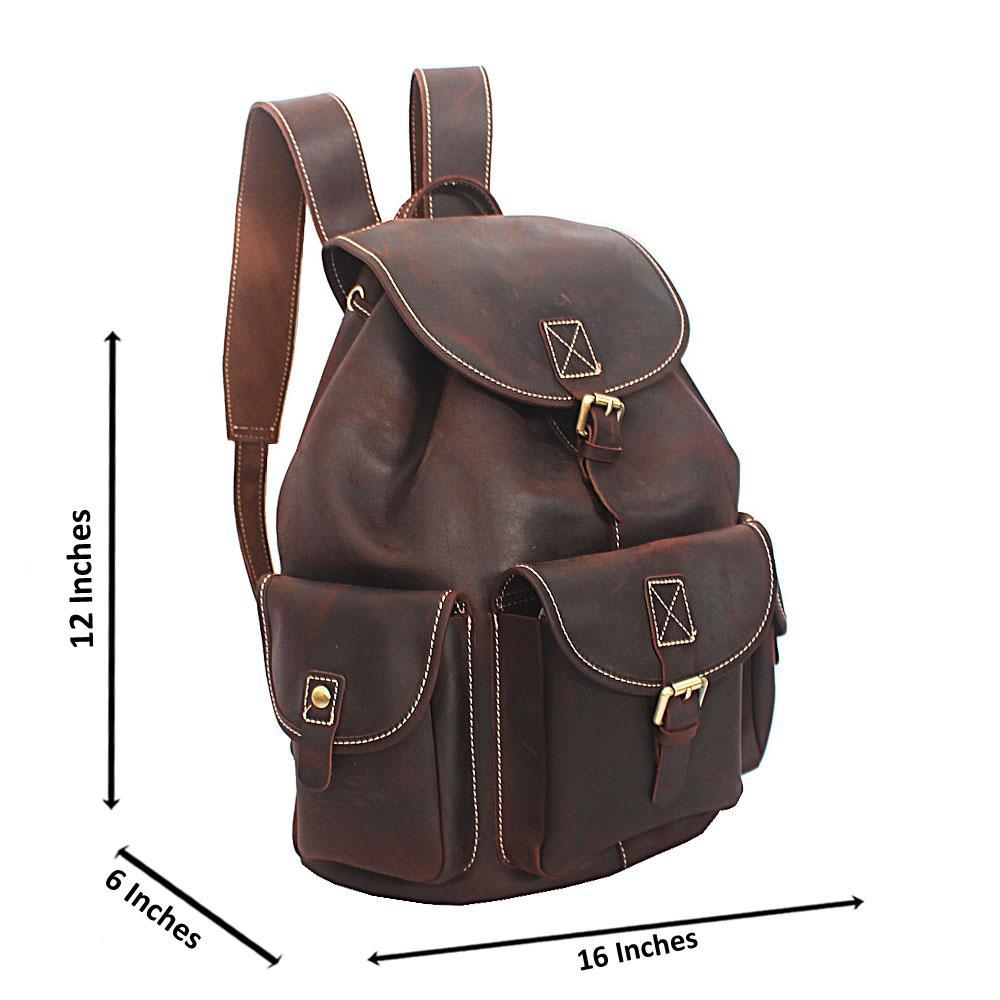 Deep Coffee Cowhide Leather Urban Backpack