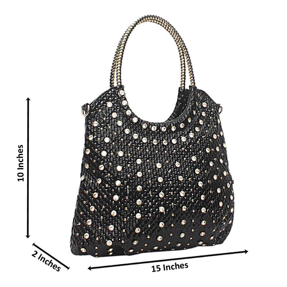 Black Studded Patent Leather Shoulder Bag