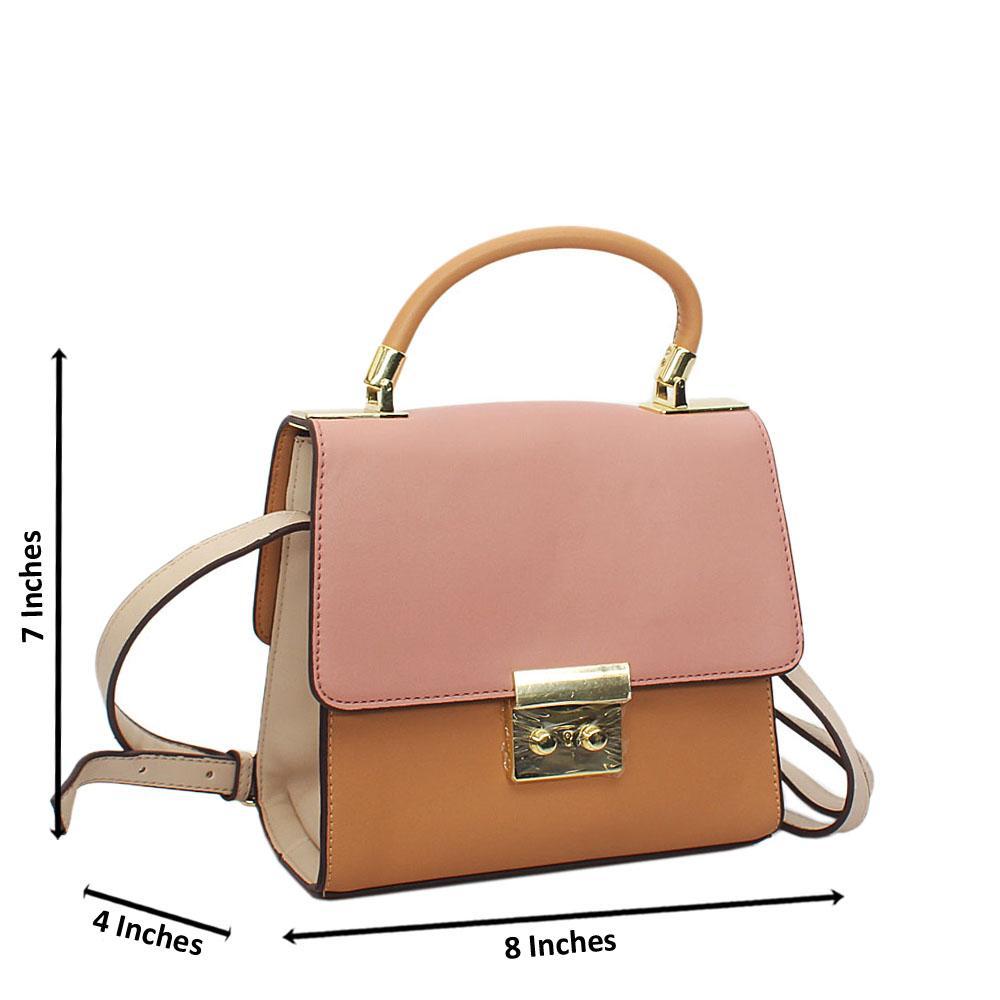 Pink Mix Barbie Leather Top Handle Crossbody Handbag