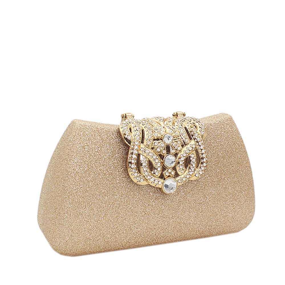 Gold Shimmering Studded Hard Clutch Purse