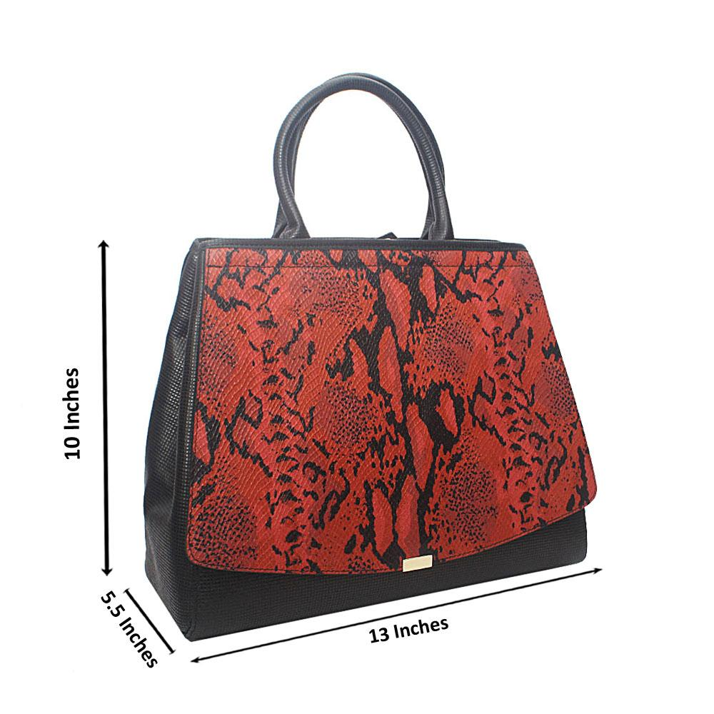 Timonne Black Red Montana Leather Handbag