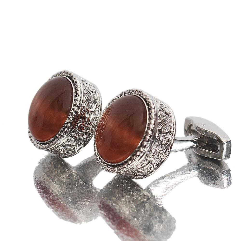 Montego Etched Brown Pearl Silver Stainless Steel Cufflinks