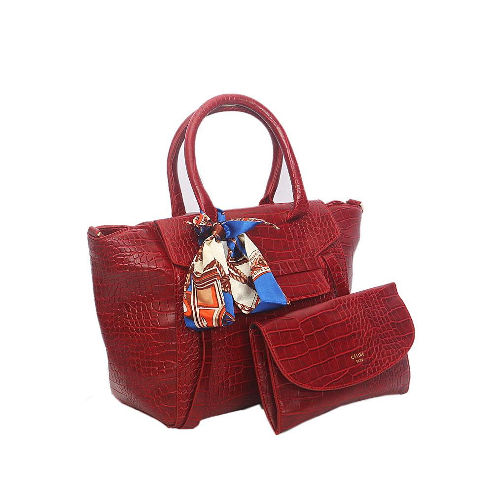 Red Rossie Croc Leather Tote Handbag