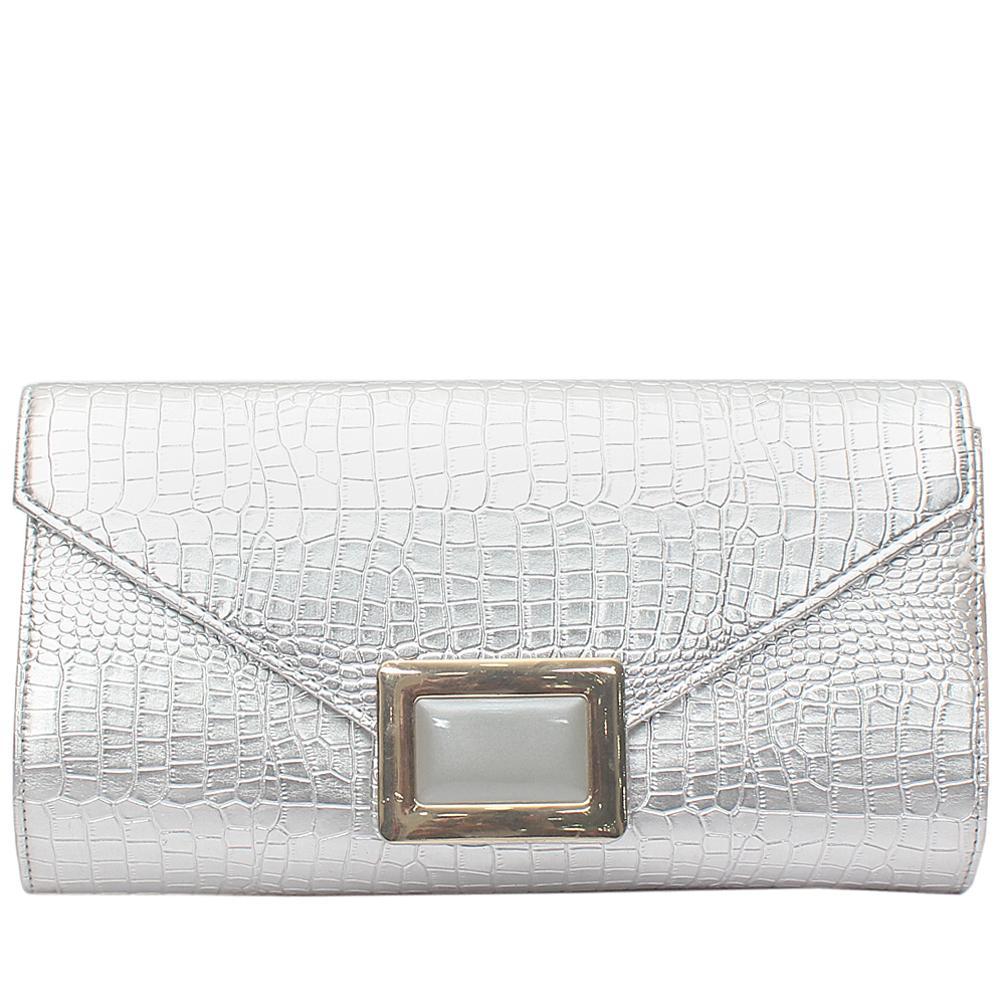 Fashion Silver Croc Leather Ladies Clutch Purse