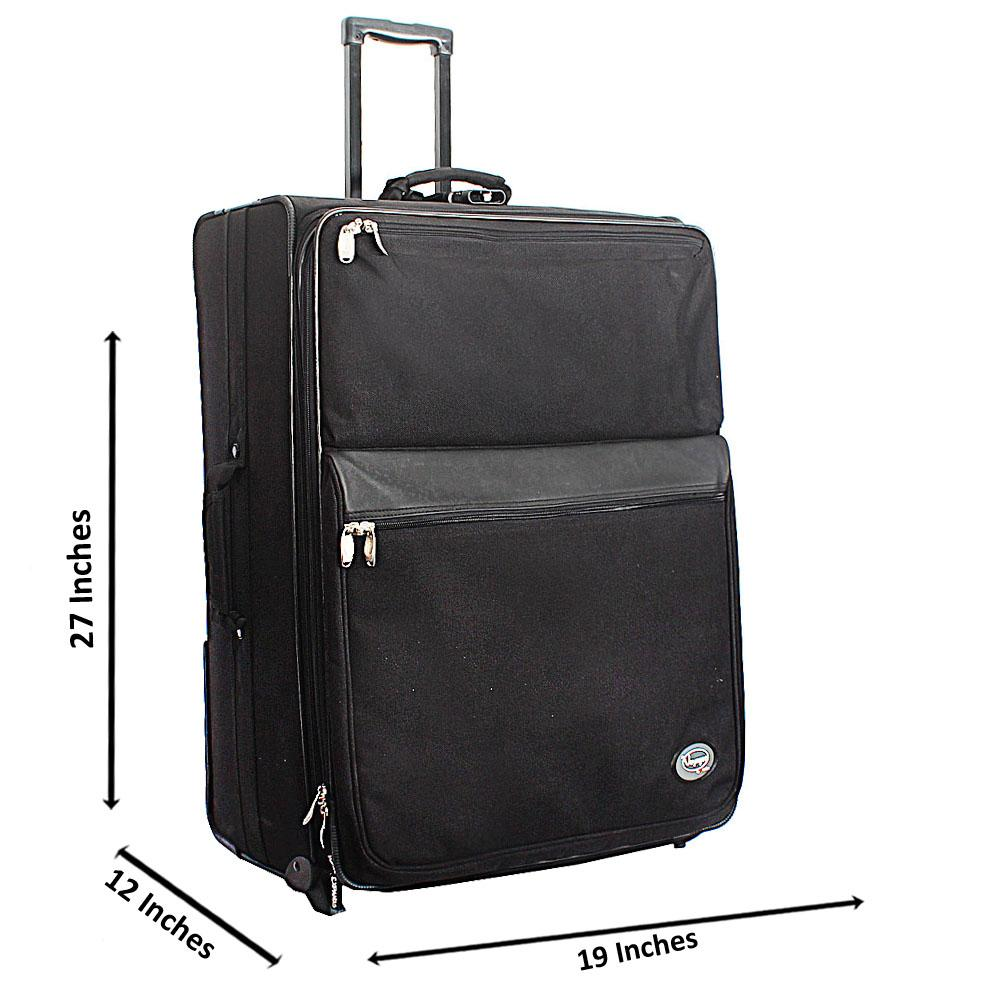 Voyager Black 28 Inch Fabric 2 Wheels Spinners Large Checked-In Luggage