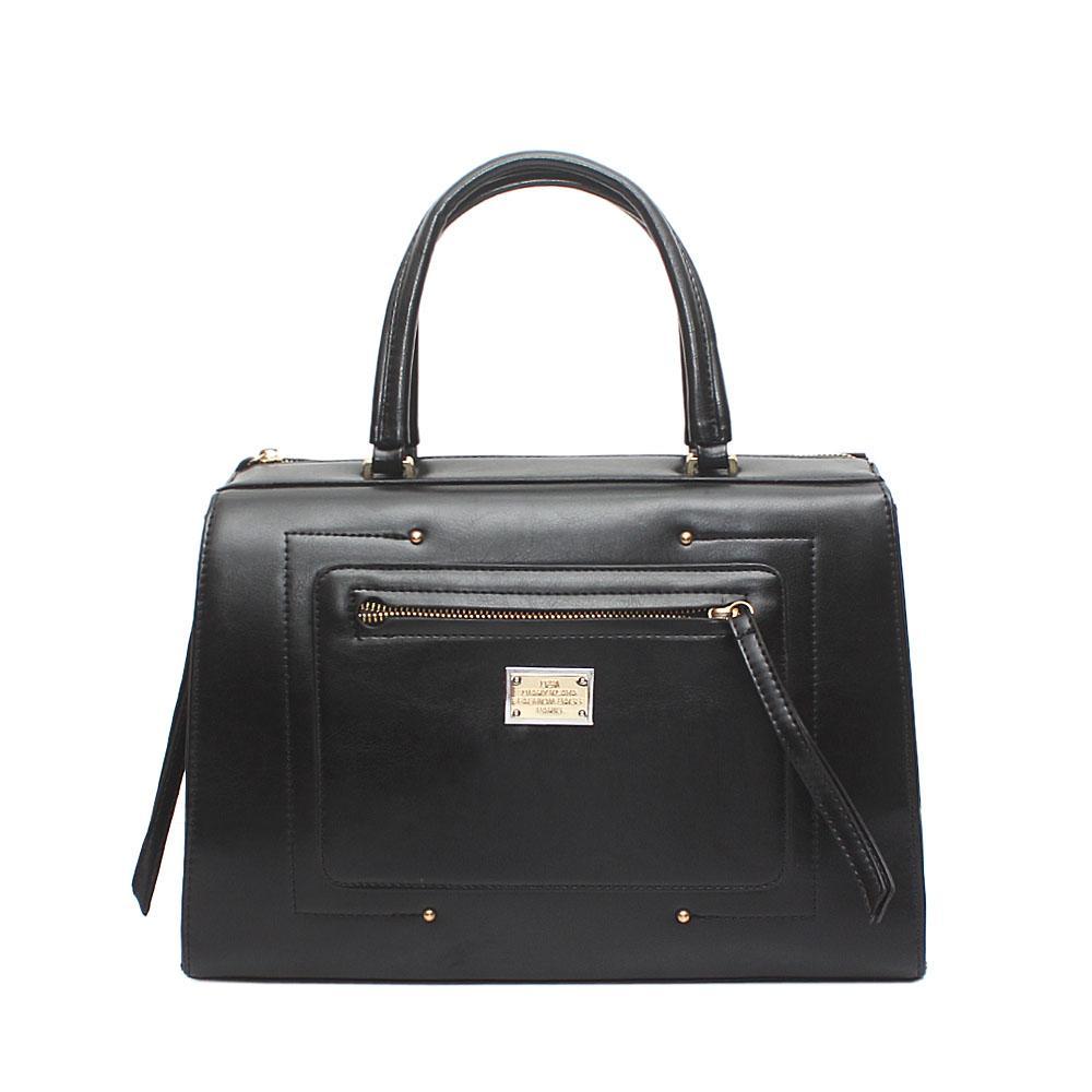 D & K Dairy Amethyst Black Leather Tote Bag