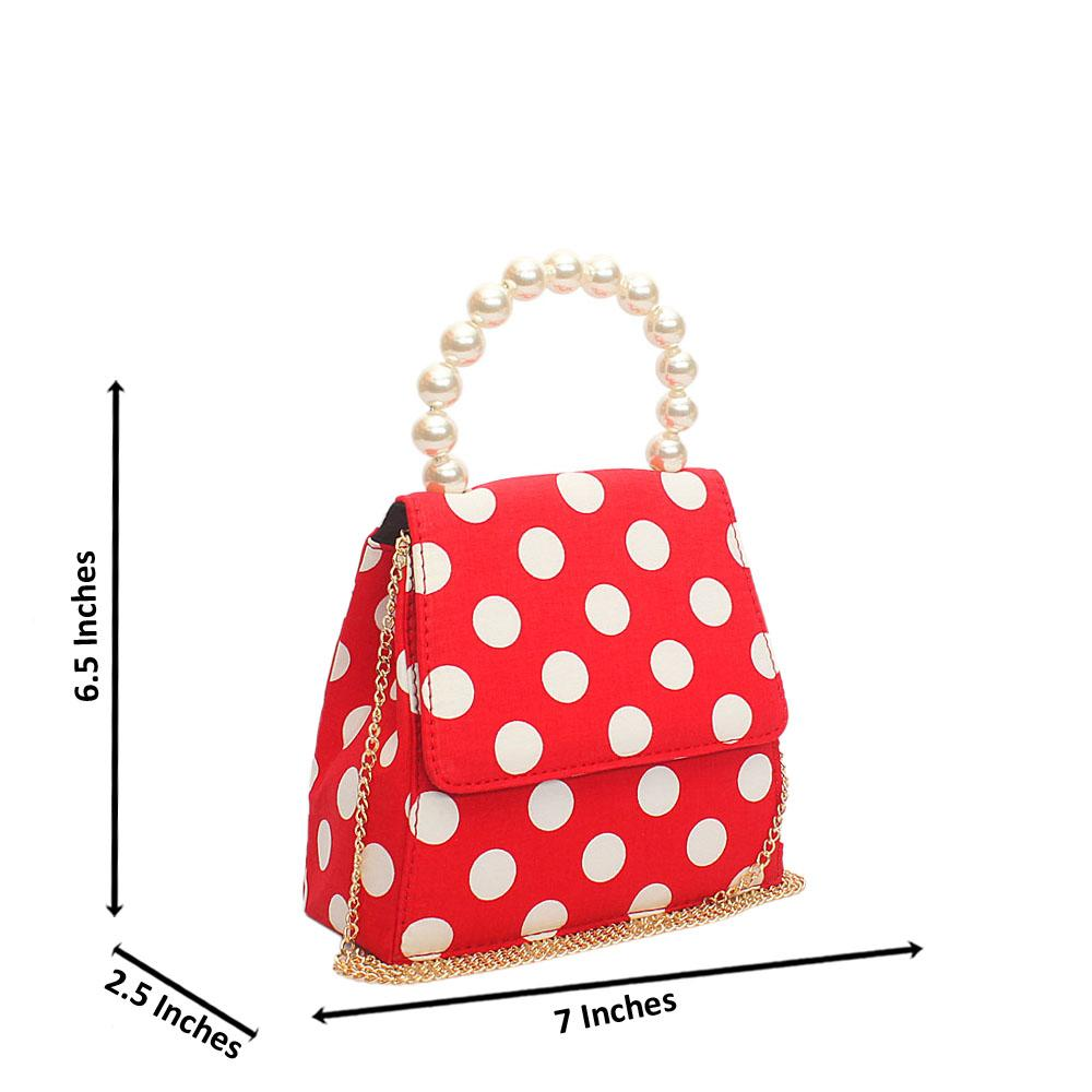Red White Pearl Fabric Mini Handle Bag