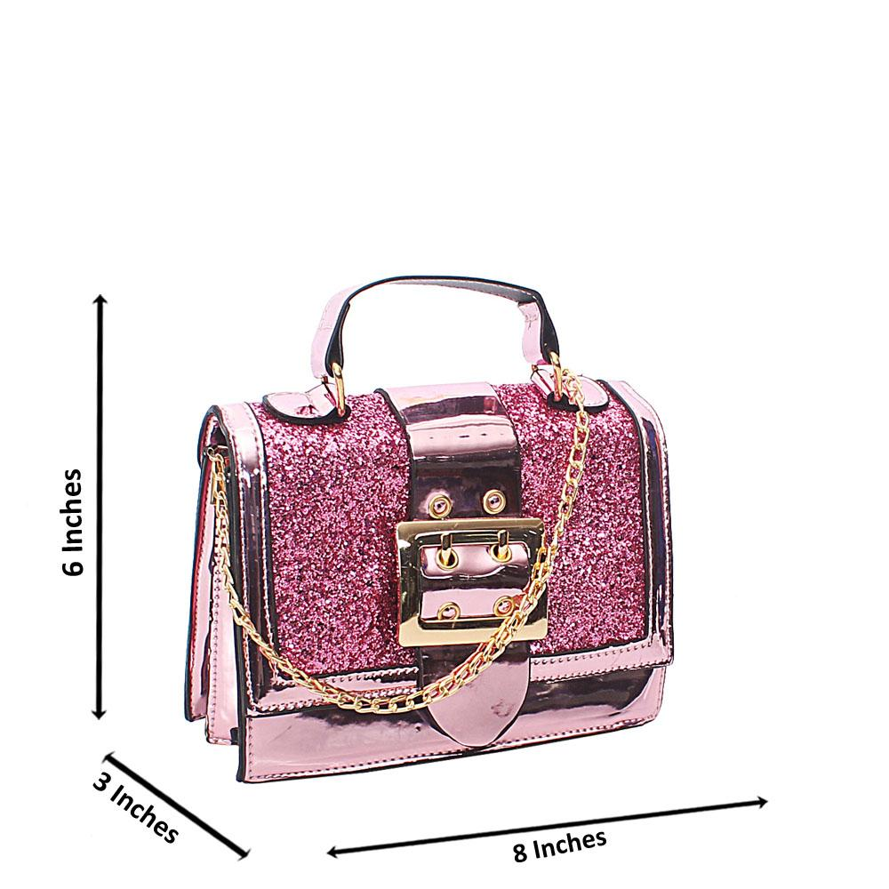 Pink Rose Pearl Glitz Patent Leather Mini Crossbody Bag