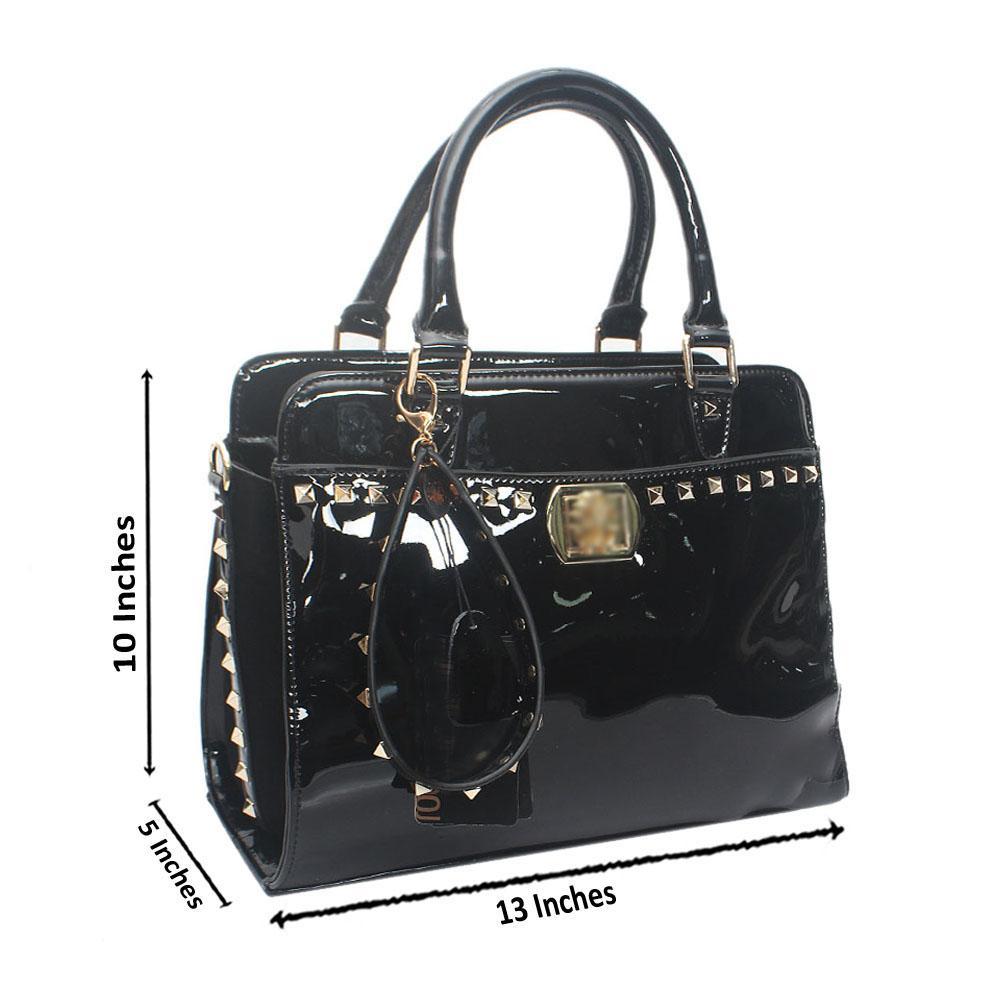 Black Italia Stud Patent Saffiano LeatherHandbag