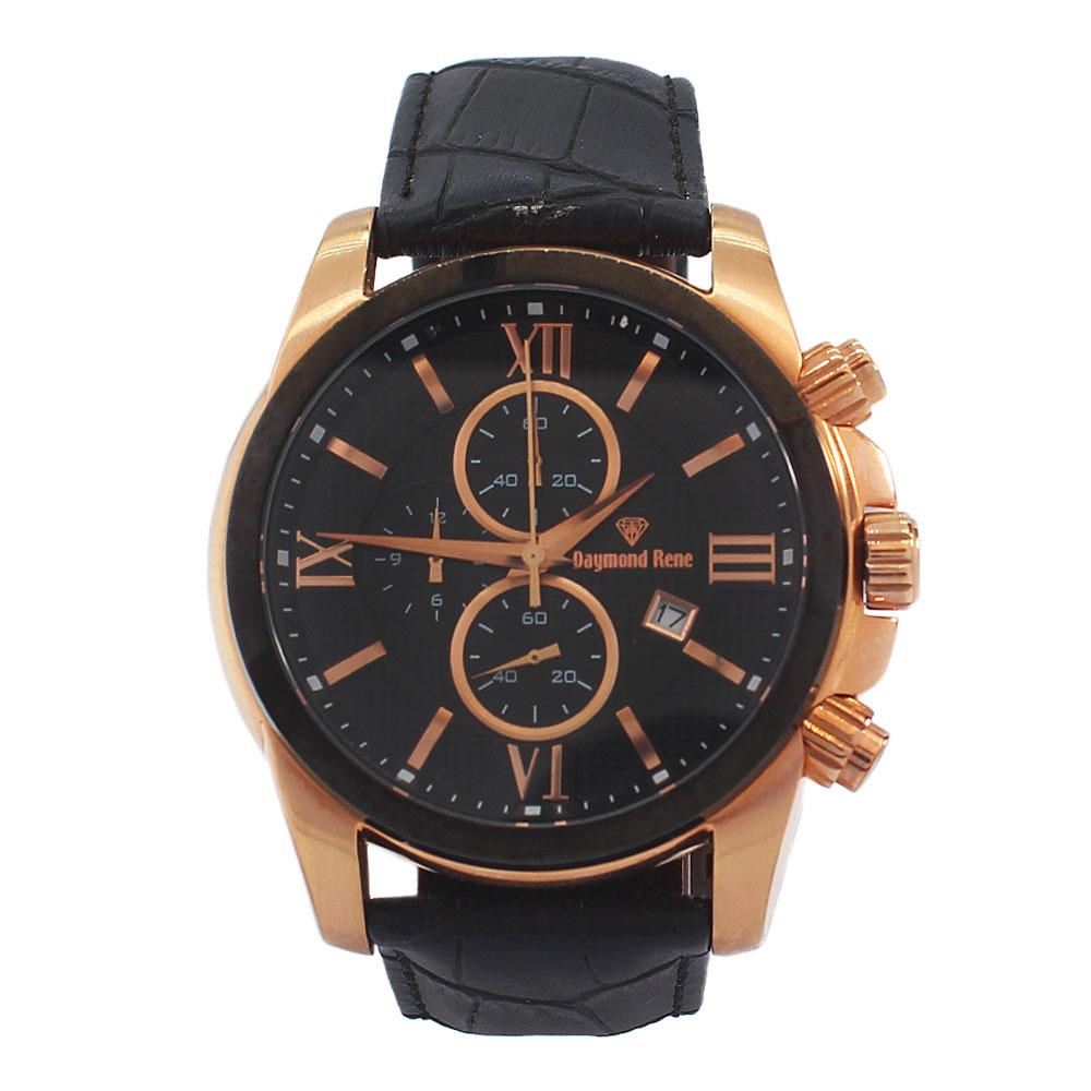 DR 3ATM Gold Black Leather Divers Chronograph Watch