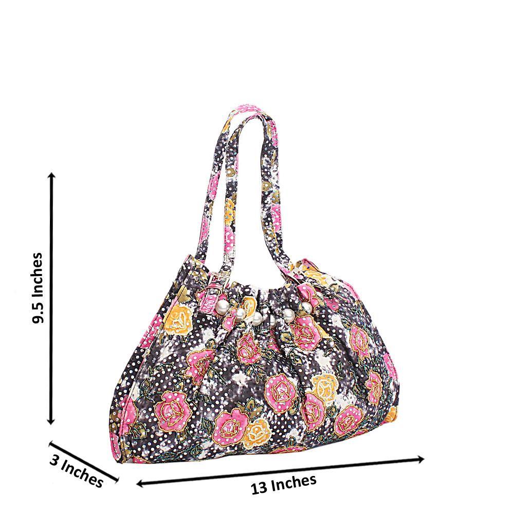Black Pink Mix Cinderella Studded Floral Fabric Shoulder Handbag