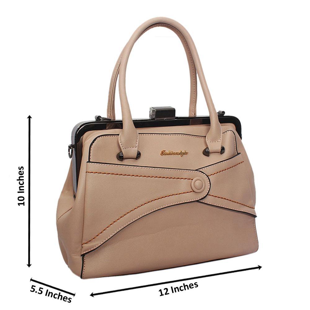 Beige Ellie Leather Tote Handbag