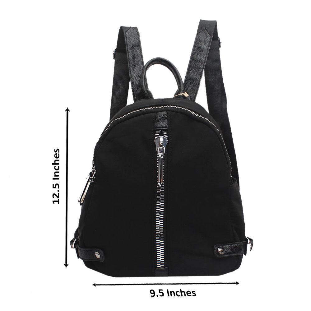 Black Fabric Leather Zipper Backpack