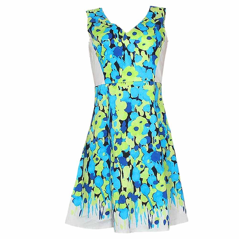 New York&Company Green/Blue/Black Printed Open Back Seeveless Evening D