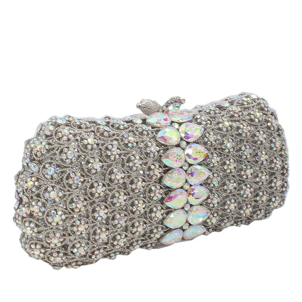 Silver Diamante Crystal Clutch Purse