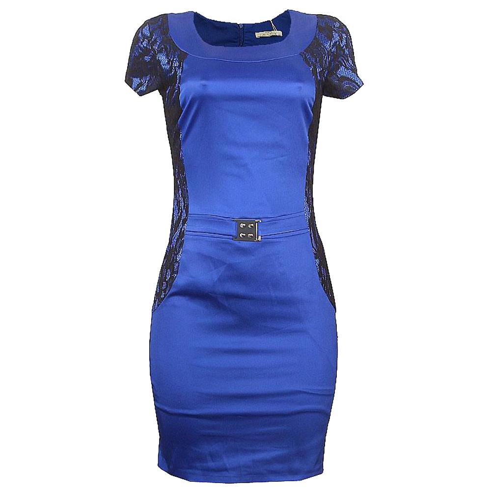 Dolce Grazia Blue Black Cotton Ladies Dress-38