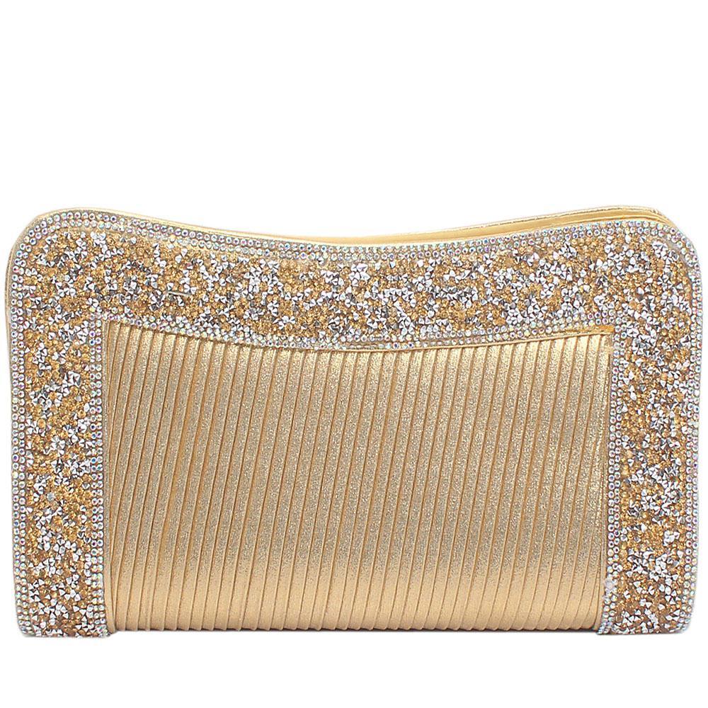 Gold Fabric Studded Flat Clutch