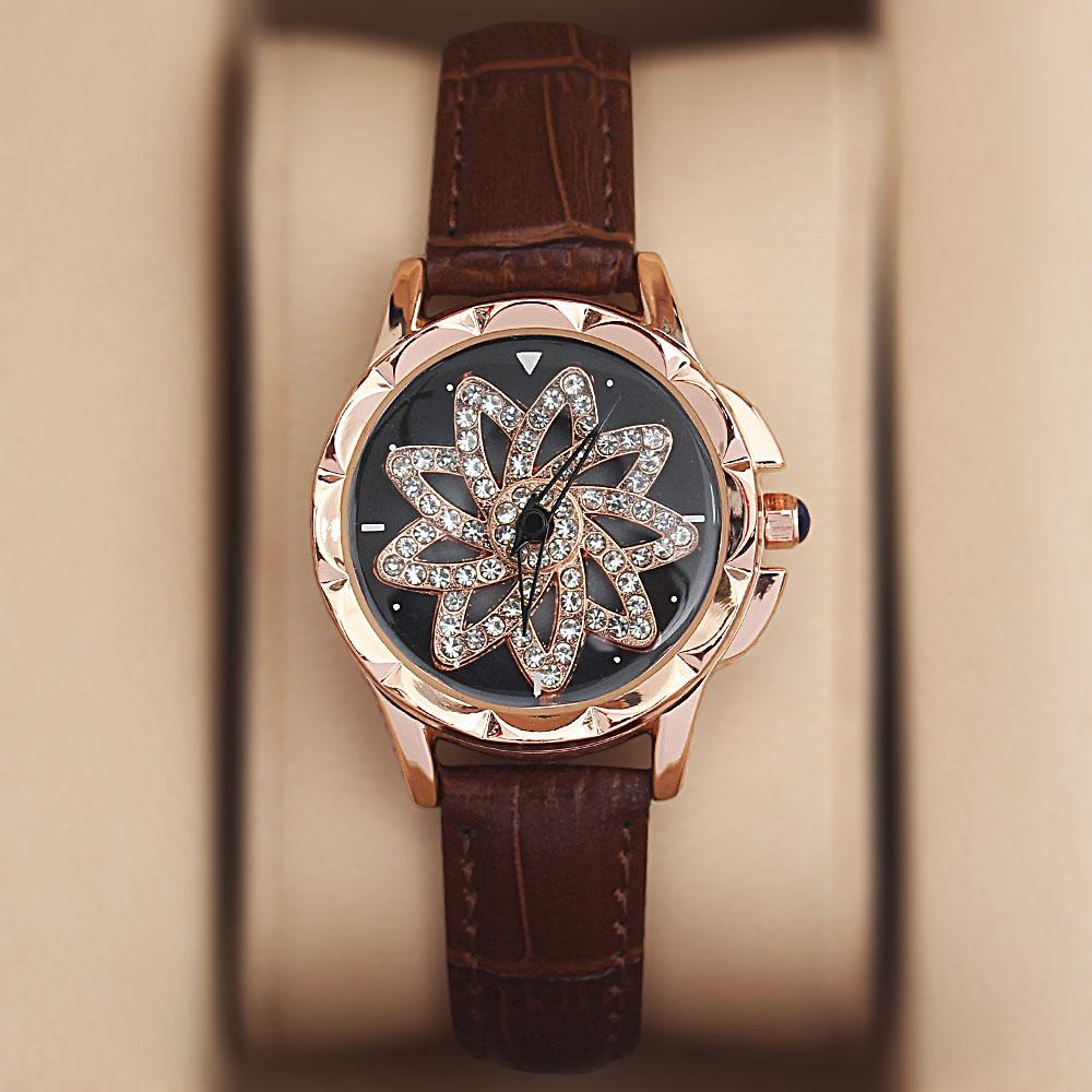 Gold Brown Crystal Studded Leather Spinners Ladies Watch