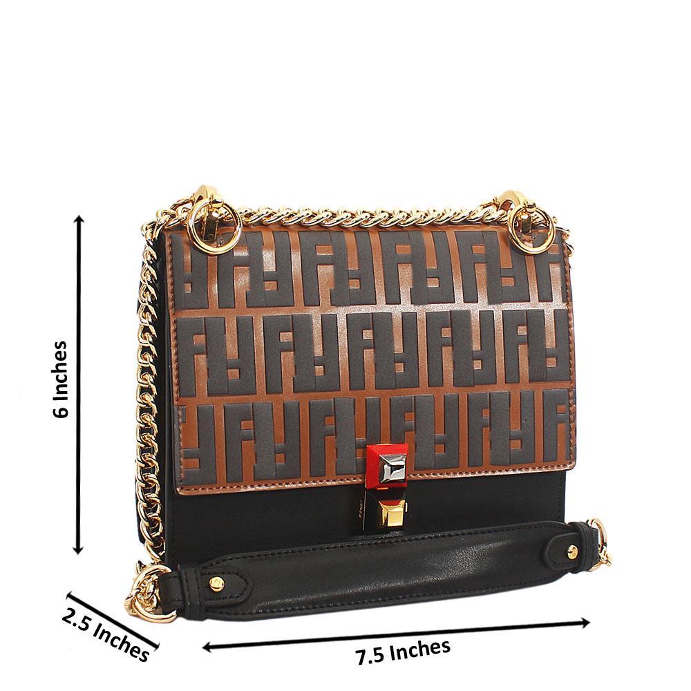 Brown Embossed Tuscany Leather Chain Crossbody Handbag