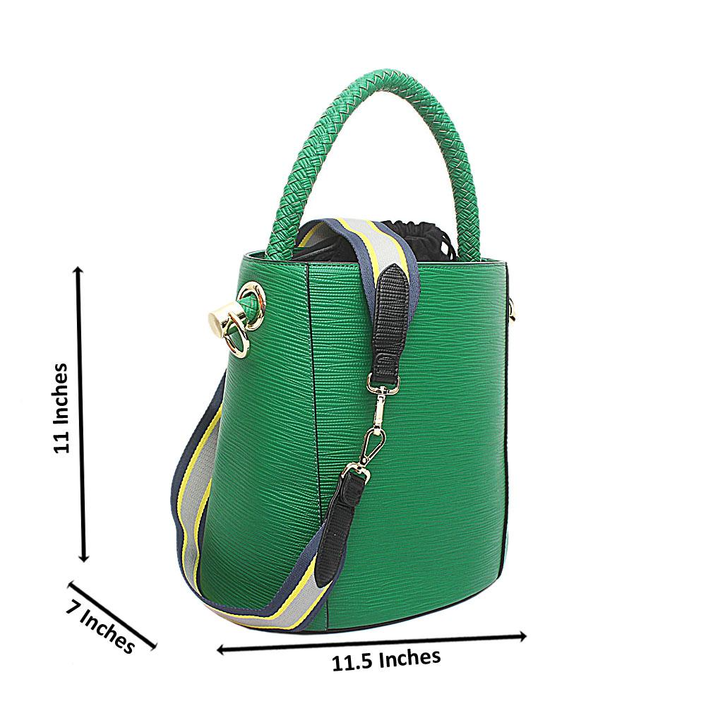 Susen Green Leather V Classic  Bucket Bag