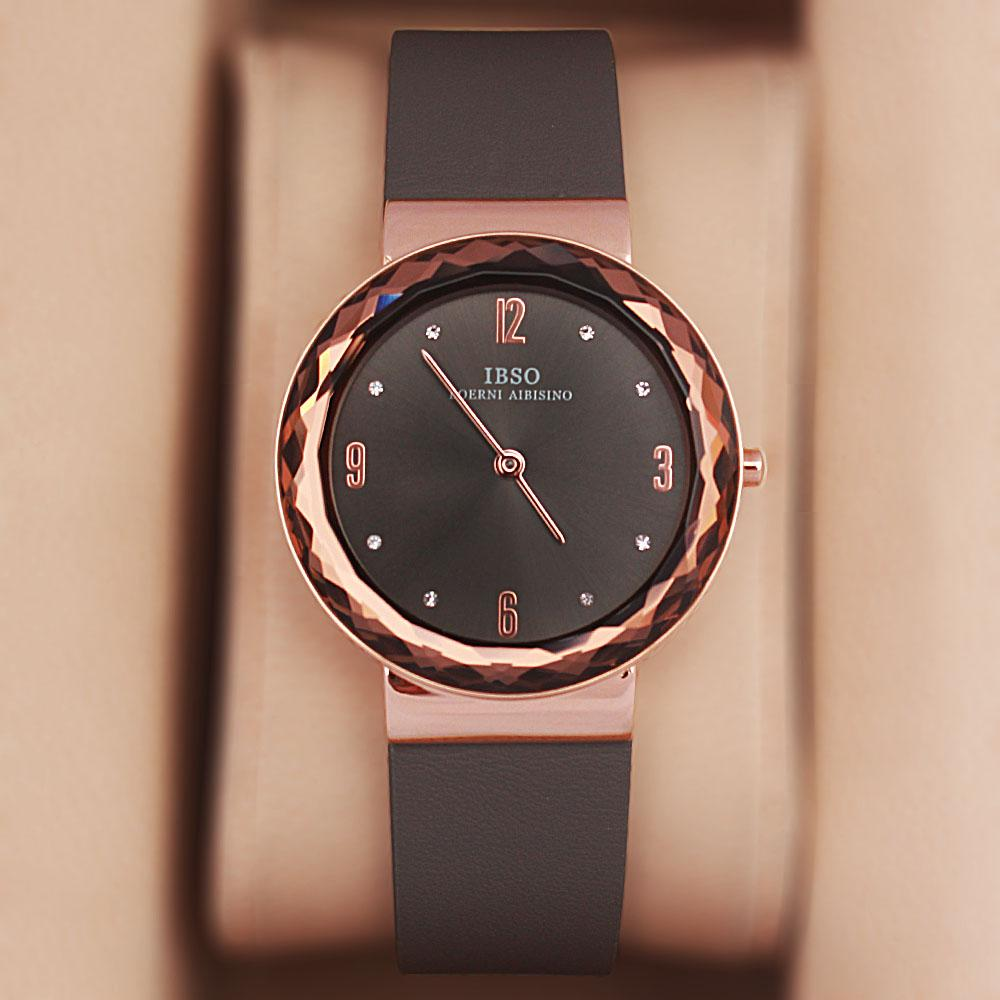 OldSkul Gray Leather Ladies Flat Watch
