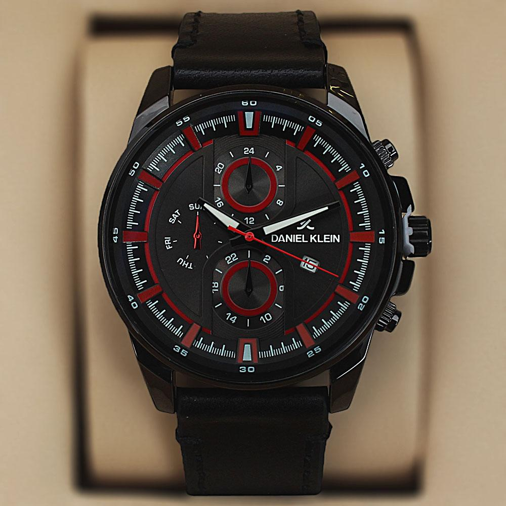 Daniel Klein Miles Black Leather Pilot Series Watch