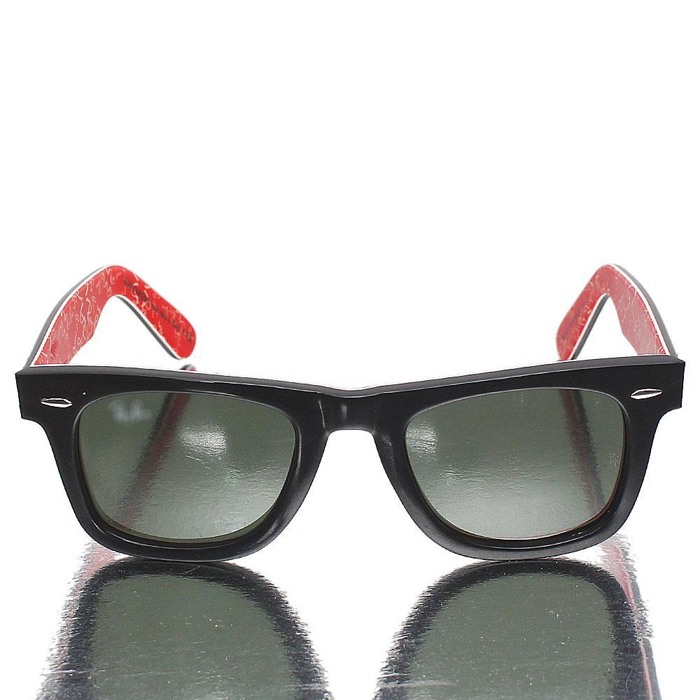 Black Red Wayfarer Dark Lens Sunglasses