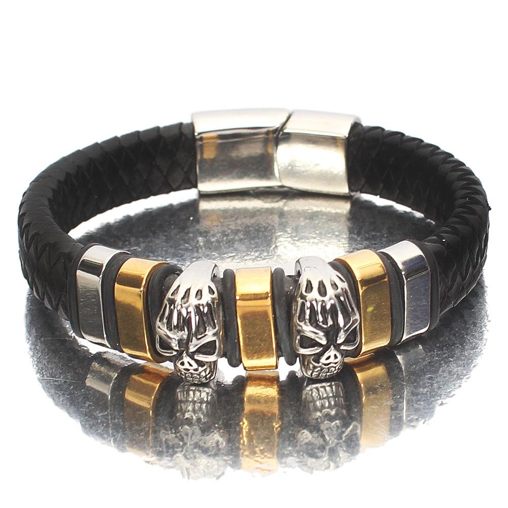 Silver Gold  Black Woven Leather Bracelet